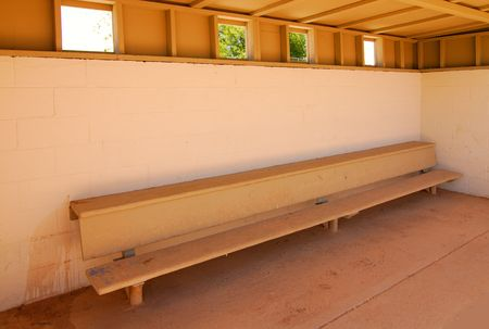 baseball dugout: empty baseball dugout at youth league field Stock Photo