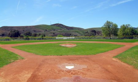 baseball field, view from home plate to pitchers mount