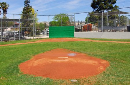 baseball field, view from pitchers mound to homeplate