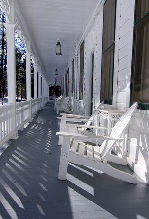 empty hotel veranda of resort hotel in wiinter