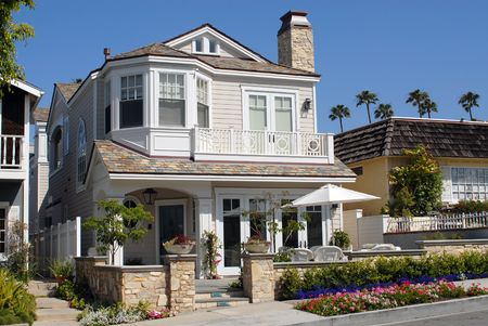 House on ocean front in affluent beach community, California