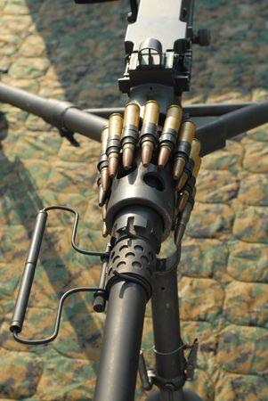 Browning M2 .50 caliber heavy machine gun with ammo on display