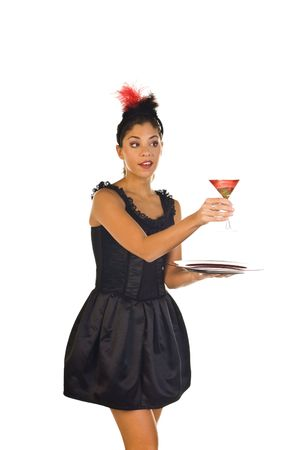 cocktail waitress in lounge ready to serve a drink photo