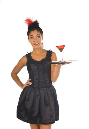 cocktail waitress in lounge ready to serve a drink,isolated on white  photo