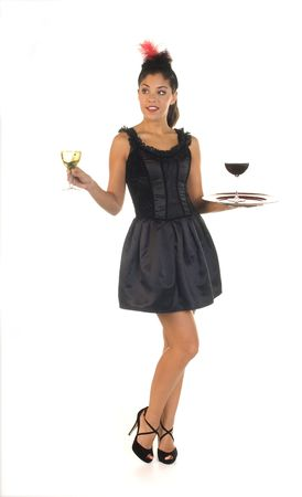 cocktail waitress in bar ready to serve a glass of wine photo