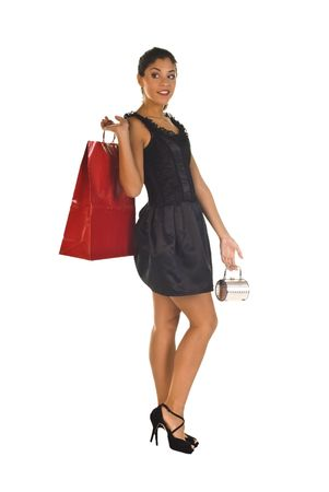 beautiful young lady shopper, isolated over white photo