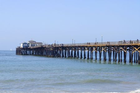 cloudless: Wooden pier art Seal Beach in California on a cloudless morning Stock Photo