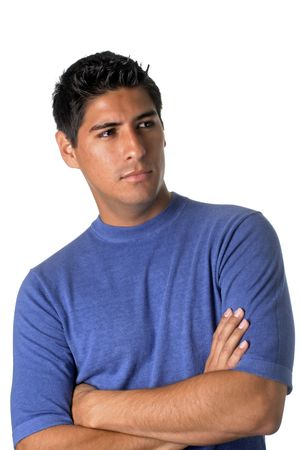 Handsome, dark haired young man in blue t-shirt Banco de Imagens