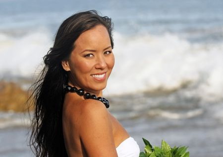portrait of a beautiful young Polynesian woman