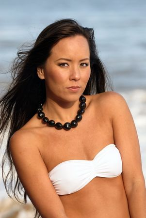 portrait of a beautiful young Polynesian woman photo