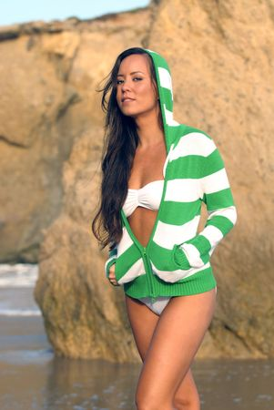 beautiful young Polynesian woman in white bikini on beach Stock Photo - 5063551