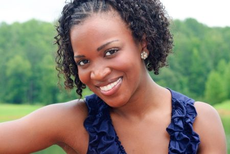 outdoor portrait of a pretty african-american woman