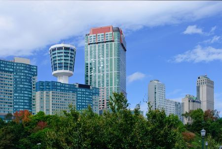 highrise hotels in Niagara Falls, Ont. and observation tower Banco de Imagens