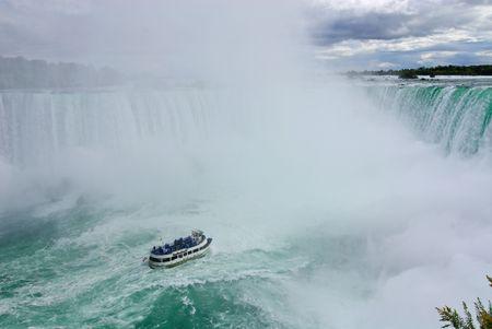 tourist boat at approaching bottom of Niagara Falls