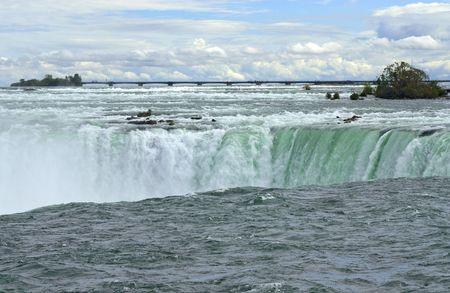Niagara River and edge of the Canadian horseshoe section of Niagara Falls  Banco de Imagens