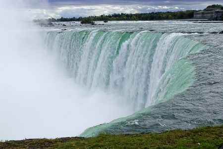 canada: Niagara River and edge of the Canadian horseshoe section of Niagara Falls  Stock Photo