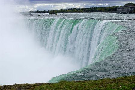 horseshoe falls: Niagara River and edge of the Canadian horseshoe section of Niagara Falls  Stock Photo