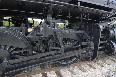 drive wheels of vintage Canadian Railroad steam locomotive
