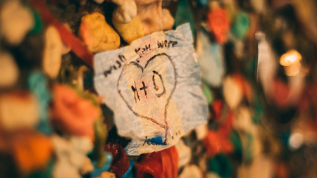 Love note left on a wall of gum