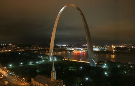 St. Louis Arch at night from the air