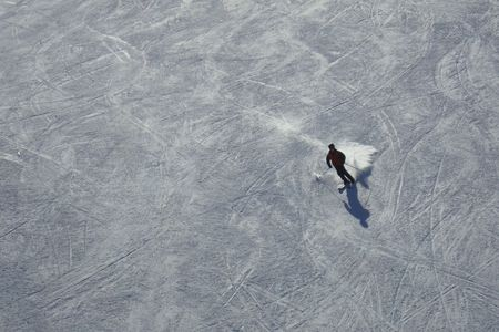 black mammoth: A snow skier making a turn shot from above Stock Photo