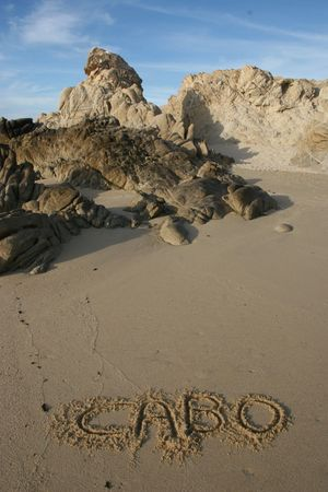 Cabo Beach with writing in sand Stock Photo - 5045669
