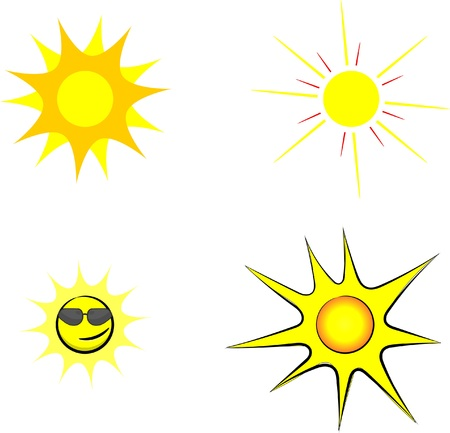 Set of four cartoon sun vector image