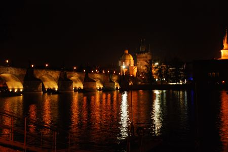 Charles Bridge reflecting at Night