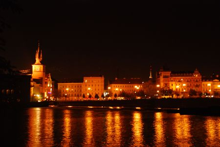 Prague Embankment along the Vltava at night