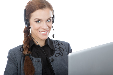 Business online customer service reprezentative isolated over a white background photo