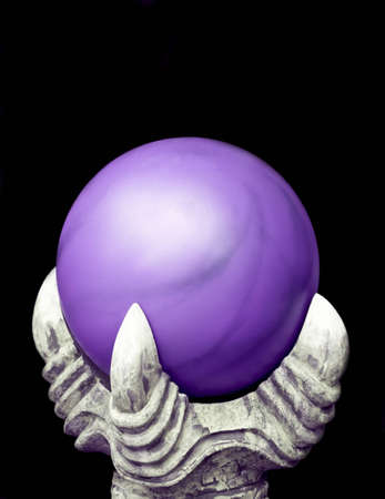 A purple mystic orb held up by a dragon's claw Stock Photo - 7419492