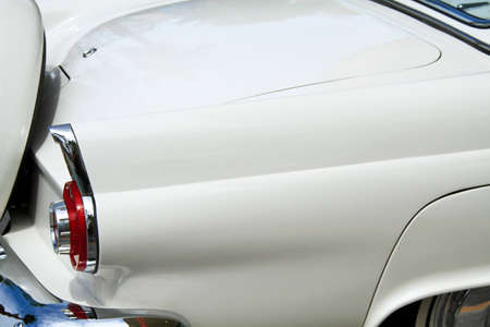 thunderbird: A vintage thunderbird with a well maintained white finish Stock Photo