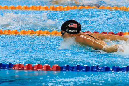 Natalie Coughlin races in the 100m butterfly finals at the FINA World Cup 2010 in Singapore. 16102010 Editorial