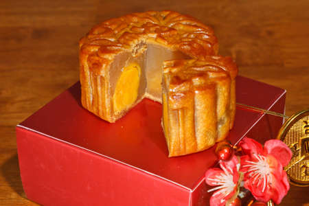 Mooncakes are the traditional dessert made for the celebration of mid autumn festival photo
