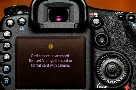 error message: Card cannot be accessed. Reinsertchange the card or format card with camera. Error message on back of camera.