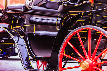 antique car: Antique car, horse and buggy type carriage