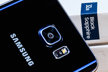 Product images for a 32gb black sapphire Samsung Galaxy Note 5 Stock Photo - 53870192