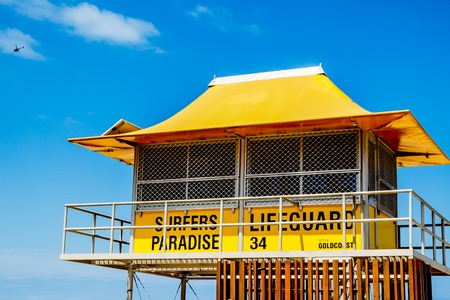 surfers paradise: Closeup of a lifeguard tower on the beach of Surfers Paradise Stock Photo