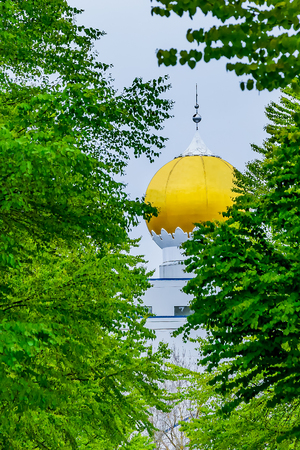 golden globe: Golden globe roof architecture of a Sikh Temple seen from between the trees. Stock Photo