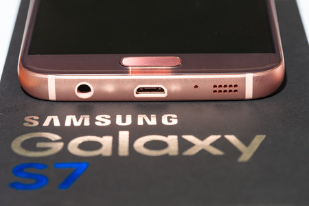 samsung: Rose gold colored Samsung Galaxy S7 mobile phone. Editorial