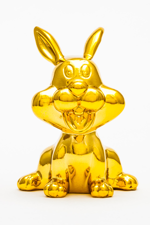 Golden figurine of the chinese zodiac sign of the rabbit.