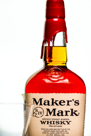 Makers Mark whiskey product shot on white background