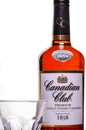 Canadian Club whiskey product shot on white background Editorial