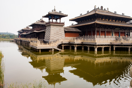 Back view of Ming Dynasty compound on a lake