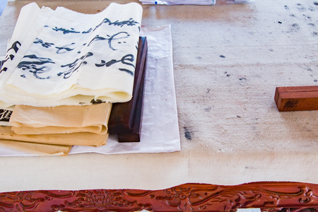Close up of the stationary on a chinese caligraphy desk