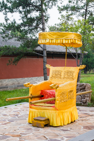 An ancient chinese people powered chariot of royalty. Stock Photo