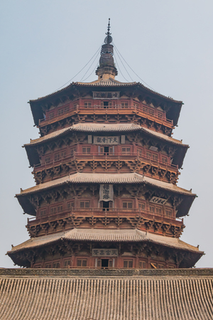 Close up views of the Yingxian Wooden Pagoda, a UNESCO Heritage Site consideration.