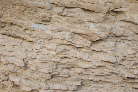 Close up of a rock wall showing layers and textures.