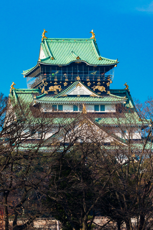 View of Osaka Castle from across the moat, through the trees in the winter, morning sunlight. Editorial