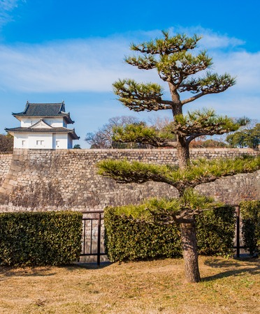 The Osaka Castle guard house at the edge of the complex wall
